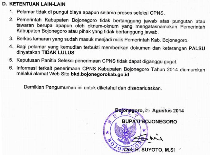 Ketentuan CPNS Bojonegoro 2014