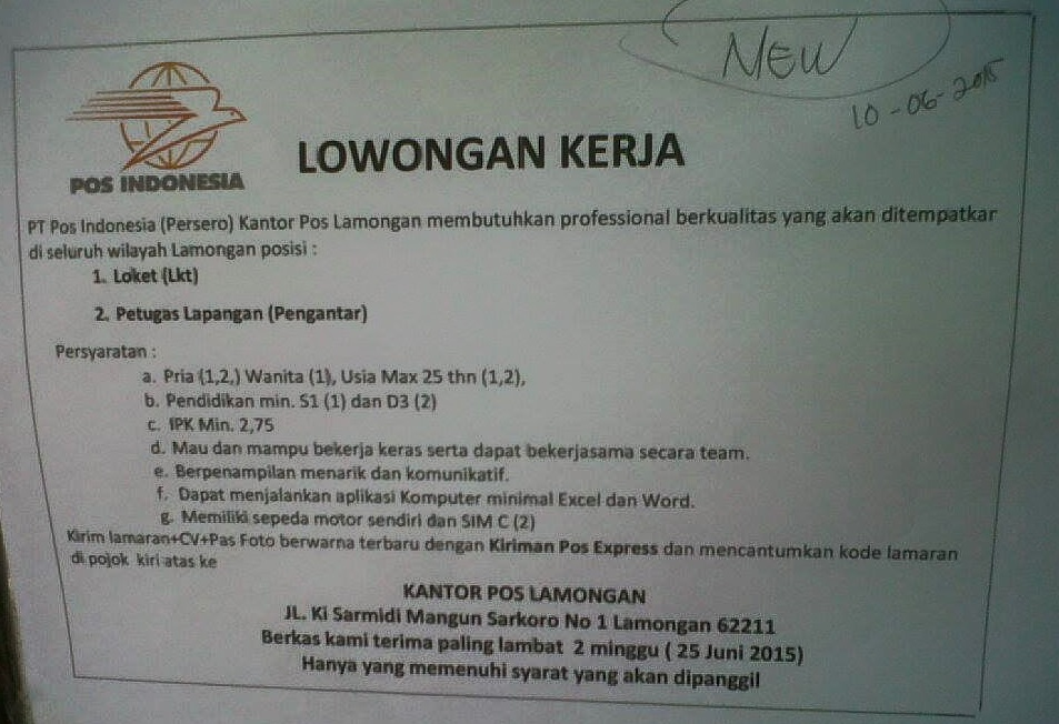 Loker Pos Indonesia Lamongan Loker Jonegoro